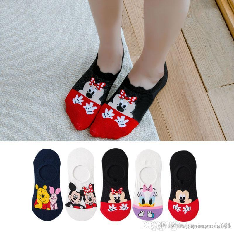 5pairs / Lot Sommer-Korea-Socken-Frauen-Karikatur-Katze Fox Maus Socken Cute Animal Lustige Socken Baumwolle Unsichtbare Socken Dropship