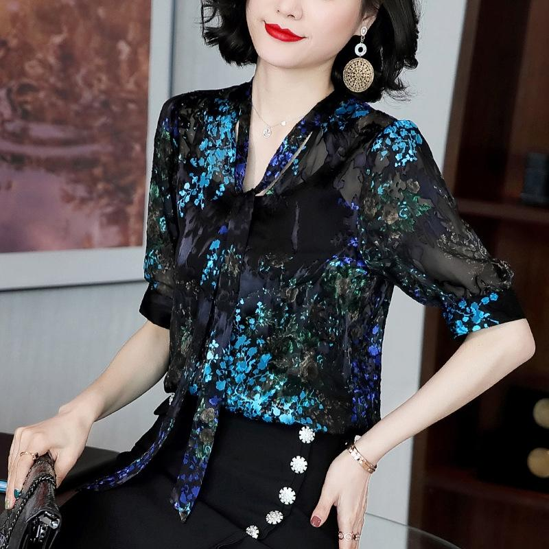 4WIJU Chiffon gedruckt Frauen Mid-Hülse 2020 Top Seidenhemd des Sommer neue Spitzen-up silk losen oben dünnes Kragenhemd steht