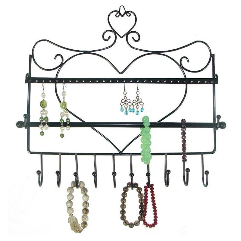 Wall Mount Earring Holder Organizer Hanging Closet Jewelry Storage Rack Black T200812