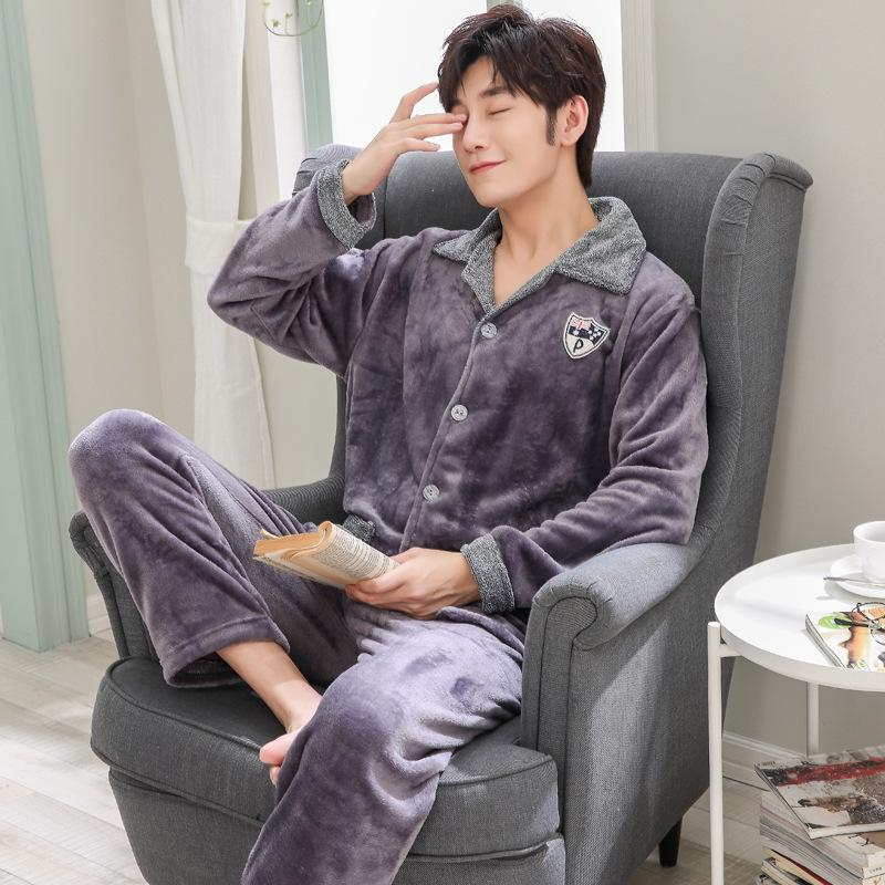 Winter flannel pajamas men's thick warm pyjamas hombre long-sleeve casual Sleepwear men homewear pajamas sets for male