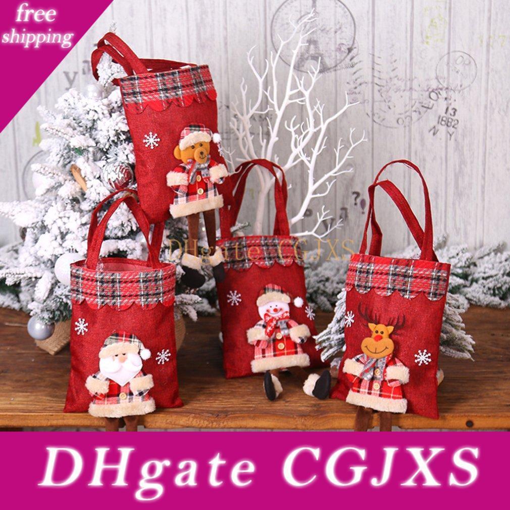 Décorations de Noël Jute Sac cadeau Candy Bag Père Noël Plaid sac fourre-tout, Décoration de Noël Props