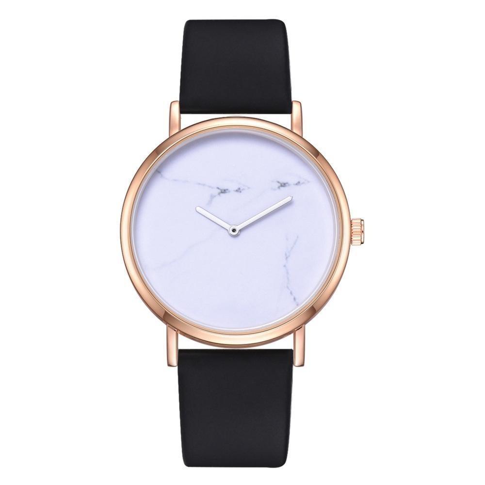 Neuer Trend Marbling Einfache Rose Gold No Second Hand Mode-Frauen-Dame Weibliche Leder Uhren des legeren Kleidung Quarz-Armbanduhr DHL