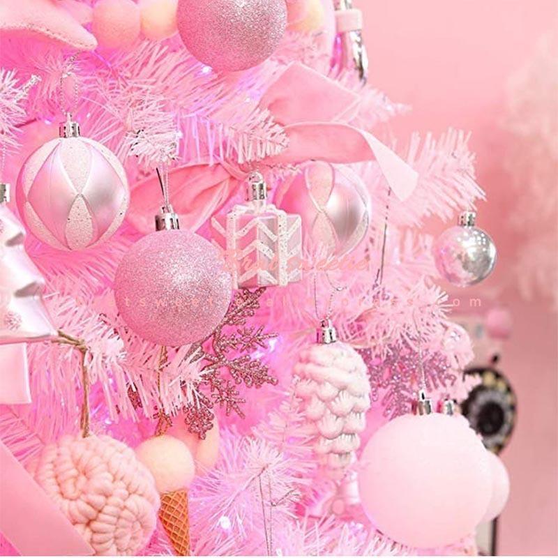 2020 Navidad 24pcs oro rosa palle di Natale rosso ornamenti albero di Natale Decorazioni Giocattoli per accessori per la casa Noel decorazione del partito