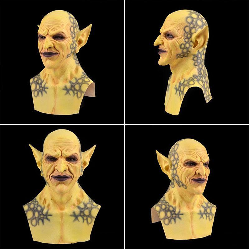 Быстрая доставка Halloween новая желтая маленький призрак маска головной убор Demon клоун вампир орк маска Хэллоуин дня рождения смешно маска F2802