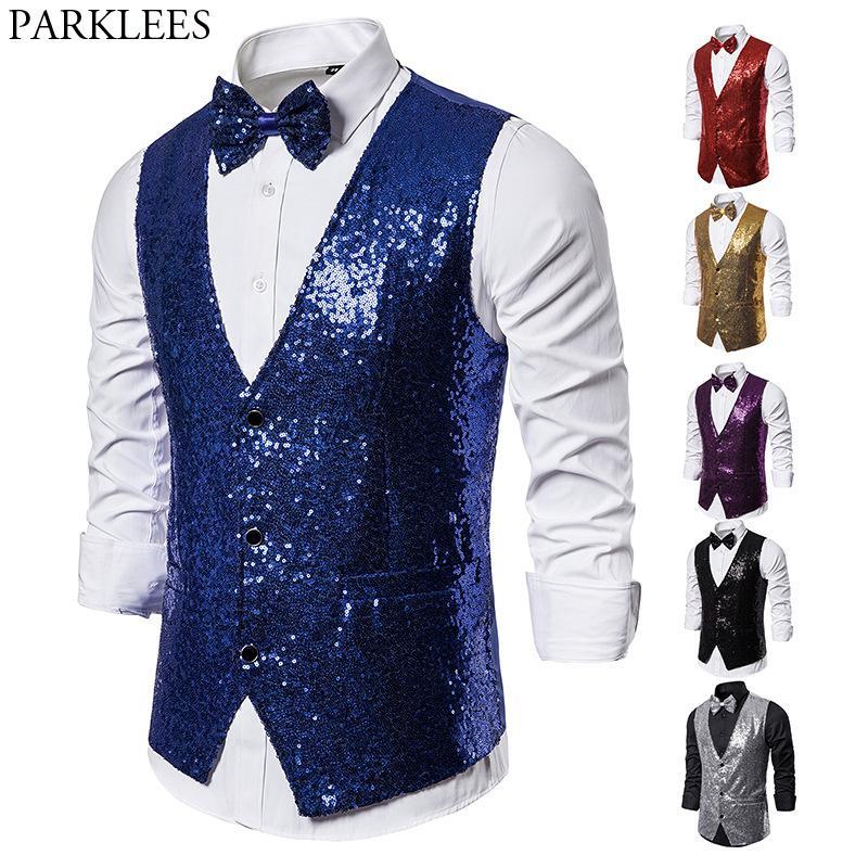 Shiny Royal Blue Vestito di paillette Gilet uomini dimagriscono attillata collo a V glitter smoking Gilet Mens Wedding Party fase di promenade Vest con Bowtie