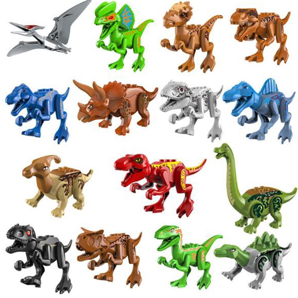 15PCS / مجموعة الجوراسي العالم الديناصور وحشية رابتور Minifig أرقام الجيش المدعم طوب كتل البناء البسيطة دينو مدينة السيارات ألعاب للأطفال
