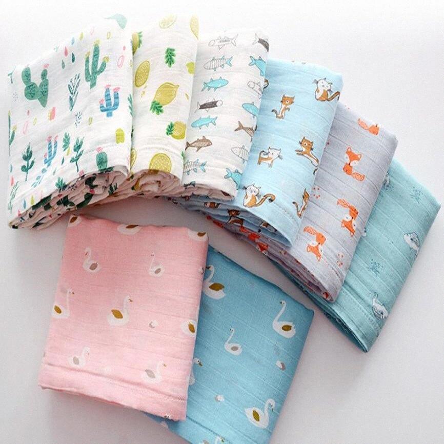 Kid Swaddle Coperte Bambini Limoni Piante Animali Stampato trapunte Swaddling fibra di bambù estate Quilt coperta morbida tovagliolo di bagno WY161Q Mlun #