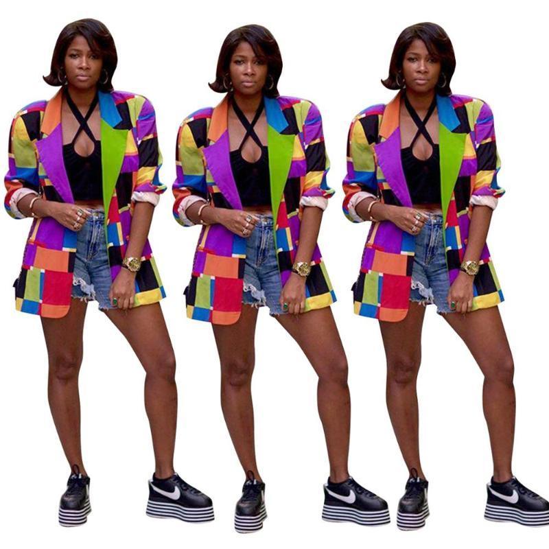 Blazer Suits Kontrol Kadınlar Bahar Coat Damalı Renk Blazer Kostüm Sokak Bayan Long Sleeve İnce Uzun ceketler Suits 2020 Yeni