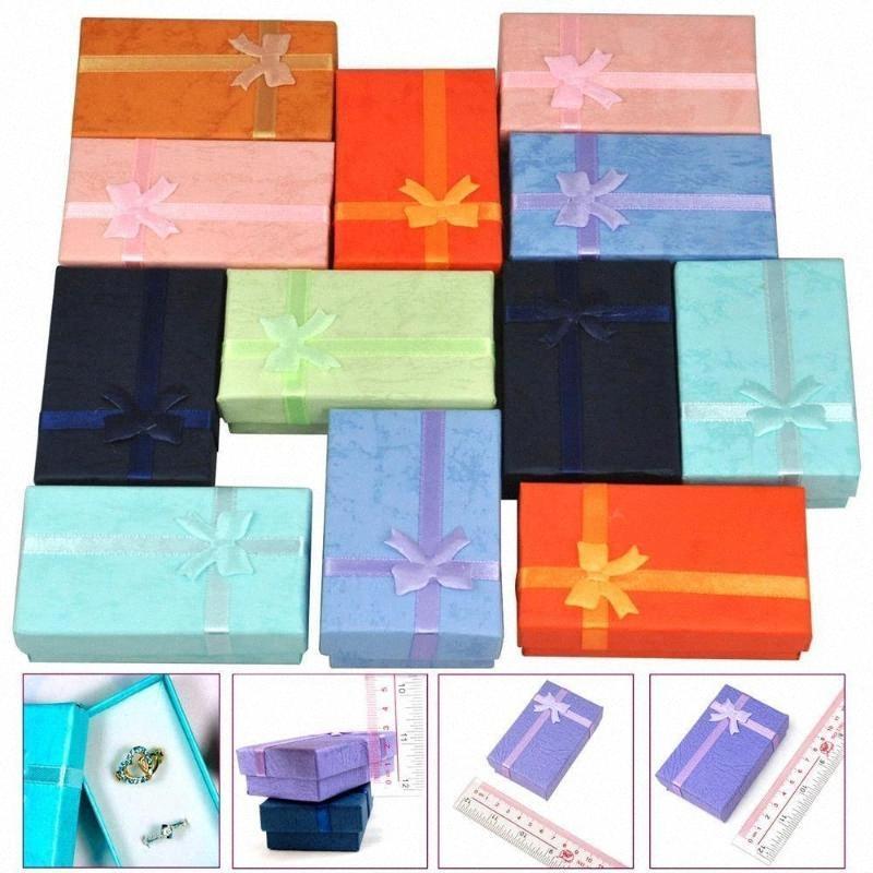 12pcs Couleur Mixte Bijoux Cadeau Paper Boîtes Organisateurs Pour Barrage Bague Collier Bracelet 5x8x2.5cm Utzn #