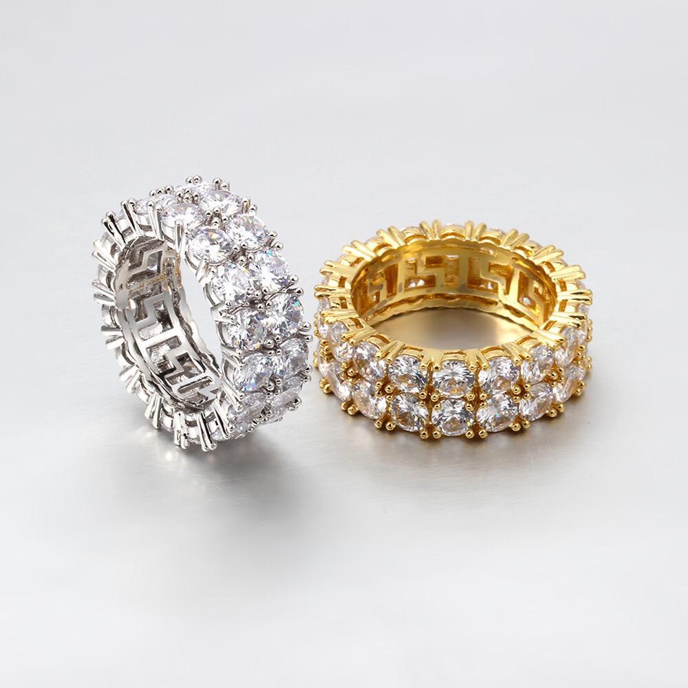 كبار الهيب هوب مثلج خارج حلقة مايكرو مهد تشيكوسلوفاكيا حجر تنس الدائري الرجال النساء سحر مجوهرات فاخرة الزفاف كريستال الزركون الماس مطلي