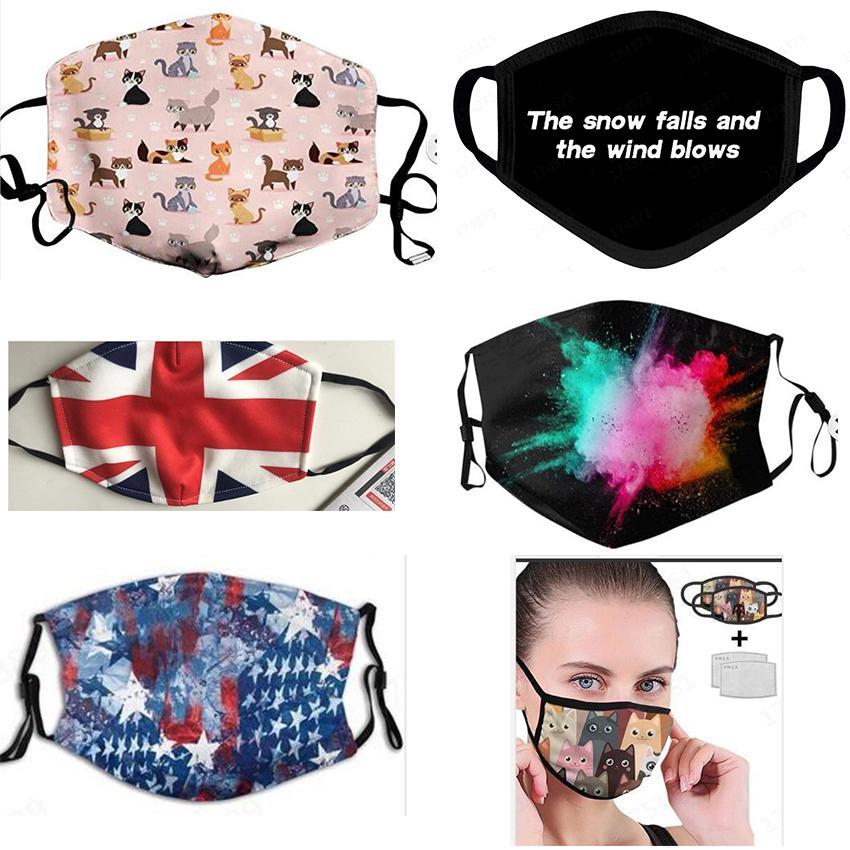 Tasarımcı yüz maskesi 3D baskı kapak yüz kalkanları 2 filtre OWD963 ile karşı toz amerikan bayrağı Gökkuşağı Centaur Starry evren papatya facemasks