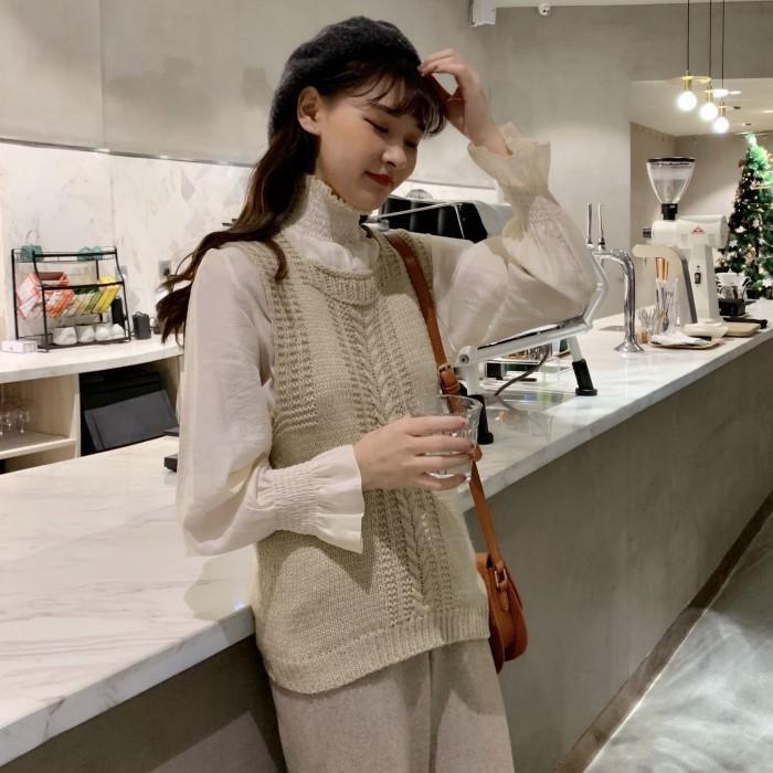 2020 novo design de moda colete nicho 1KSlL Autumn camisa de manga longa assentamento + malha colete de terno de duas peças para as mulheres