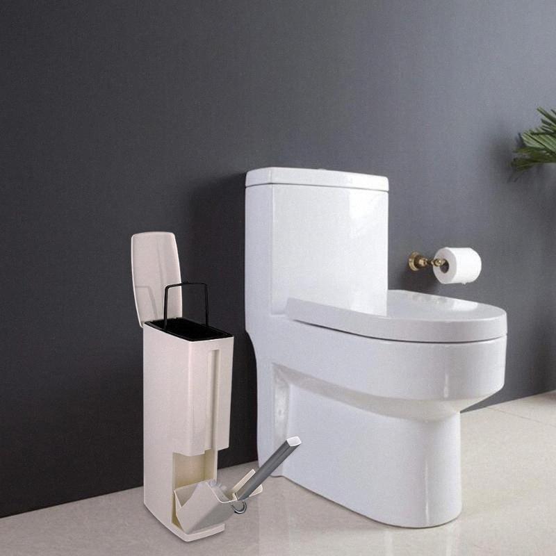 Ванная комната Trash Can Установить с туалетной щетки Пластиковые Trash ванной Waste Bin Dustbin мусора Ведро для мусора Сумка Диспенсер eJev #