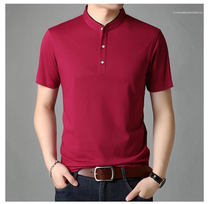 Сплошной цвет Бизнес Топы Tee Shirt Повседневная Лето отворота трикотажные рубашки Мужчины дизайнер одежды футболки Mens