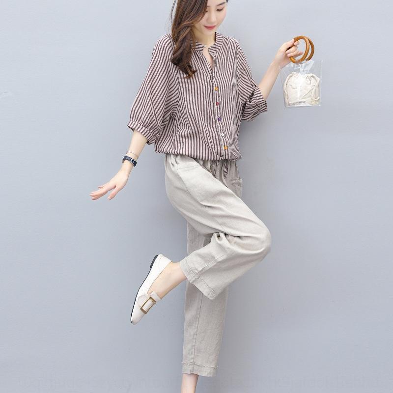 2020 estilo terno de algodão Verão novas calças de qjkqE 9wPAE mulheres coreanas e listrado Cotton Top mulheres e calças de linho superior do tornozelo-comprimento das calças