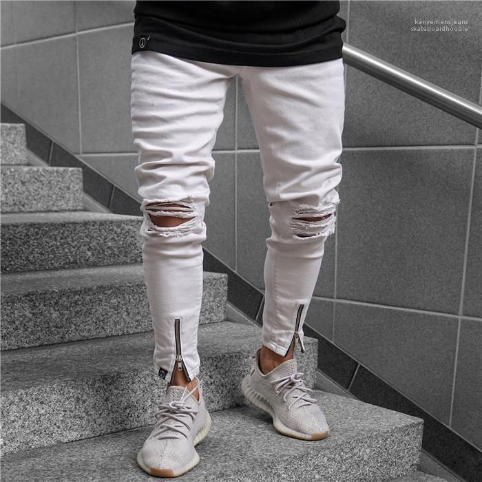 Cintura de los pantalones vaqueros para hombre Ropa para hombre blanca rasgada de cremallera de la manera ocasional del verano de los pantalones del lápiz flaco de mediana