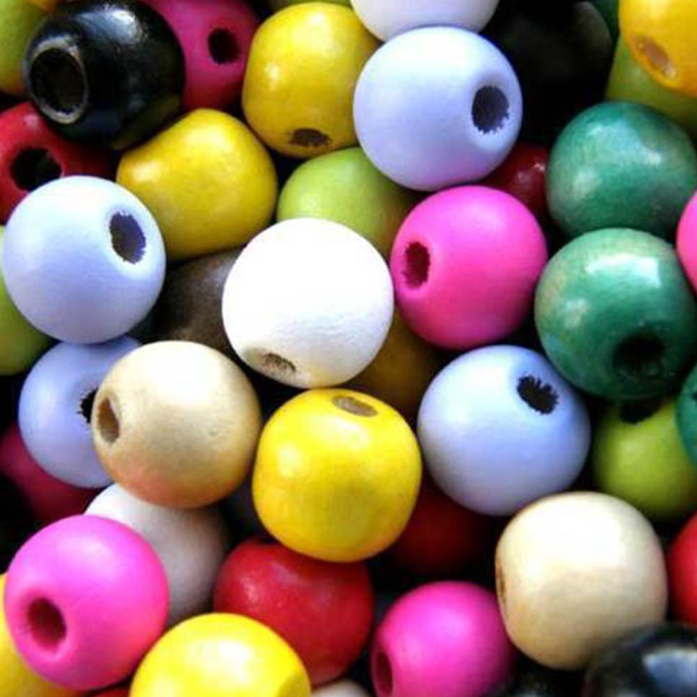 100pcs 12mm Schmucksachen, die Charme-bunte runde Perlen Holz DIY Kugel Spacer