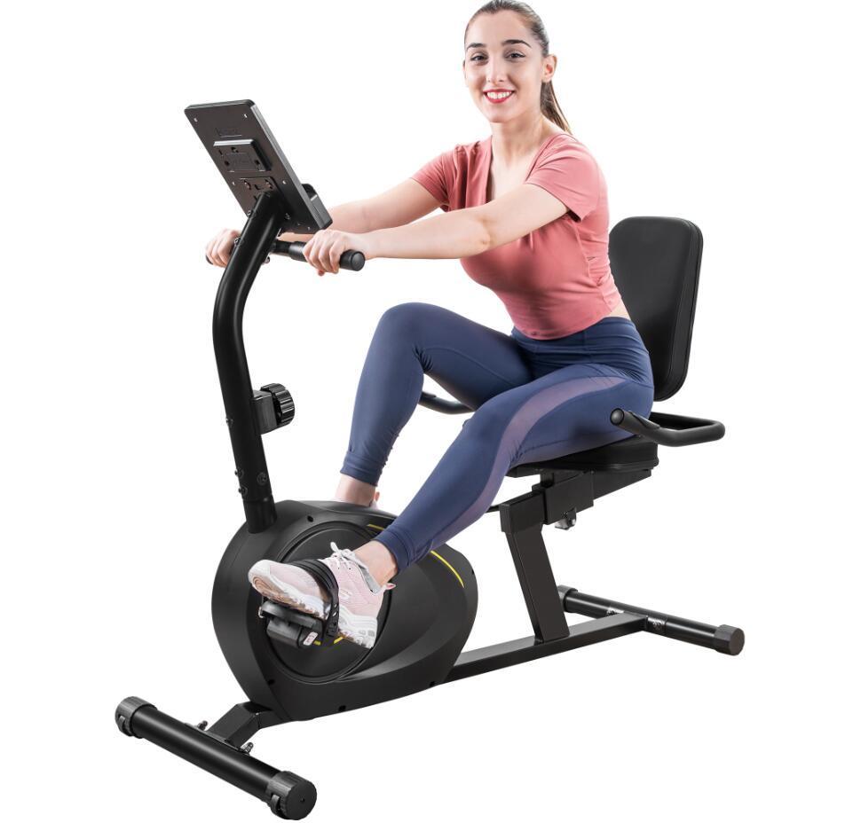 Recumbent bicicleta de exercício com 8-nível de resistência Bluetooth Monitor de fácil ajustável assento 380lb Peso MS193107BAA Capacidade