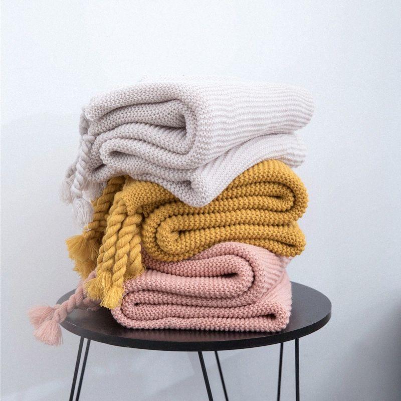 130x170cm Home Office Strick Soft Cover-Decken-Sofa Cozy Wurfgewindedecken Quasten Plaid Reise Bedspread Fotografie Prop rXq0 #