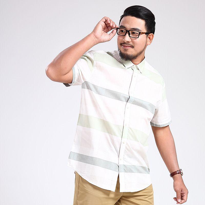 Smart Casual Fashion Solid Plain Men Shirt Striped Print Dress Shirt Short Sleeve Summer Turn-down Collar Camisa Masculina