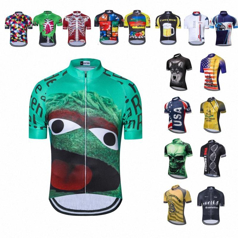 UFOBIKE Cycling Jersey Uomini Retro Estate 2019 manica corta Mountain Bike Jersey Abbigliamento Mtb shirt bicicletta supera D9XD #