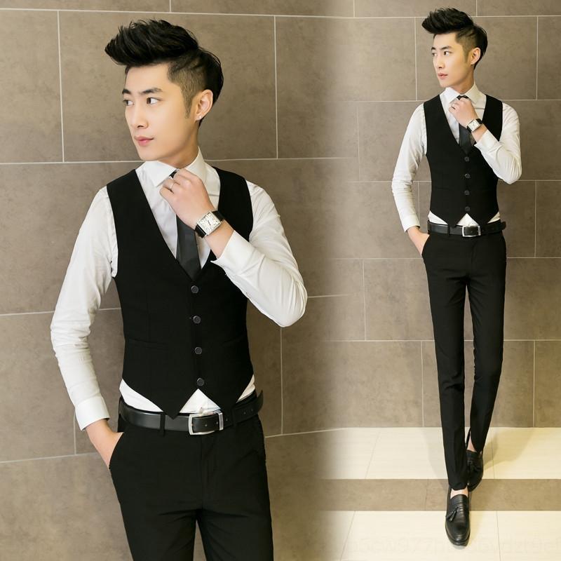 3PZgH kgTCo New fit vestido de terno estilo ocidental casamento coreano magro Photo tamanho grande colete de volta casamento veste dos homens