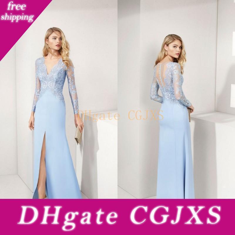 Hellblau Mutter der Braut-Kleid-Satin-Spitze-lange Hülsen tiefer V-Ausschnitt Mutter S-Kleid-Split-Fußboden-Längen-formale Abendkleider