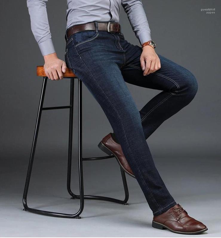 Pantalones de Jean hombres de lujo del asunto Jeans para hombre recto dril de algodón azul elástico de la cintura Moda