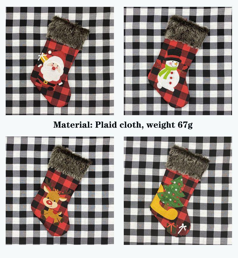 Noel Baba Hediye Çantası Noel Çorap Süsler Kapak Kolye Elk Ağacı Ekose Bezi