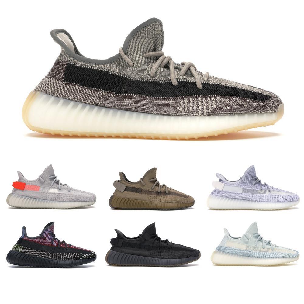 Kostenloser Versand Kanye West Laufschuhe Sportschuhe, Zyon, Schlacke, statische / wahre Form / Triple schwarze Modeschuhe Top Qualität