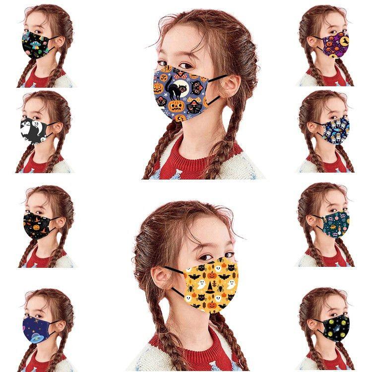 10 styles Halloween kids face mask dust-proof Anti-fog PM 2.5 adjustable washable kids protective mask China wholesale