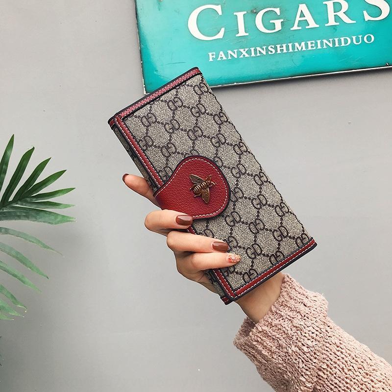 larga 2019 del bolso del monedero de la moneda tres de 8geLy mujeres imprimieron el estilo de la moda coreana de las mujeres del bolso de la cartera billetera plegable