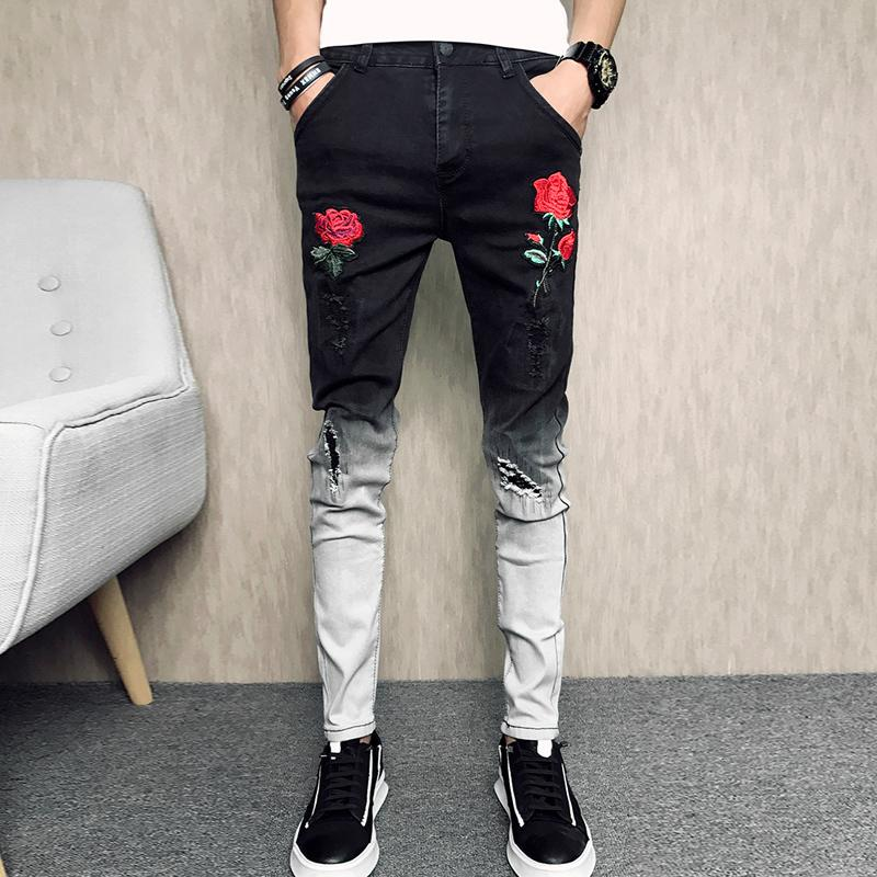 New Arrival Men's Rose Embroidered Slim Jeans Patchwork Fashion Hole Hit Color Jeans Pencil Pants CX200824