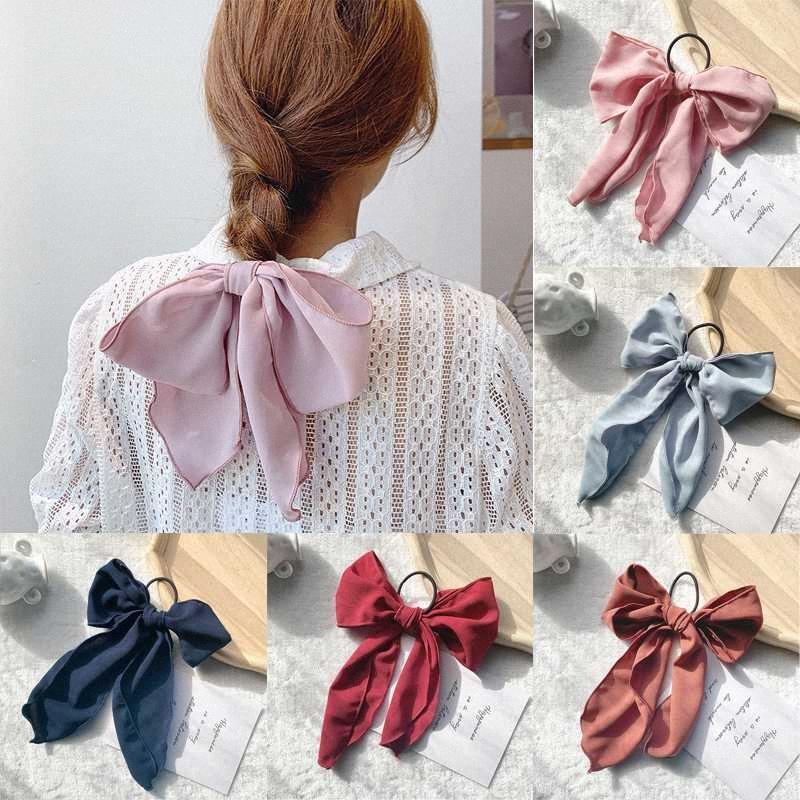 Sveglio semplice Solid grande supporto Bowknot Scrunchies dei capelli Ponytail dei legami elastici dei capelli Elastici Accessori per le donne ragazze Jnmr #