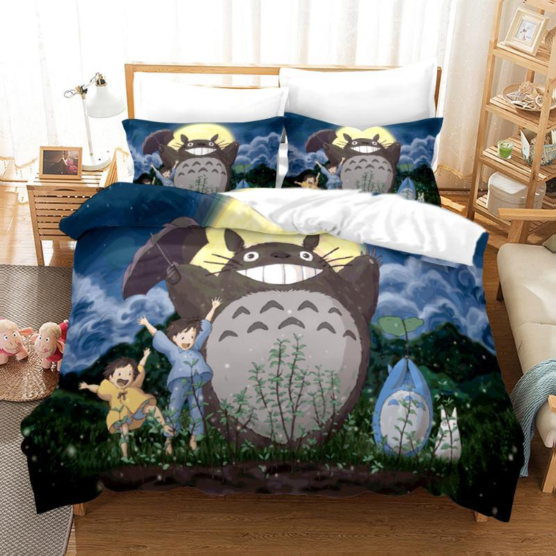 Neighbor Totoro Duvet Cover 3D Catoon Set Bedding Set Luxury Bedding Twin Queen King Size Bed Bed Linen Dropshipping