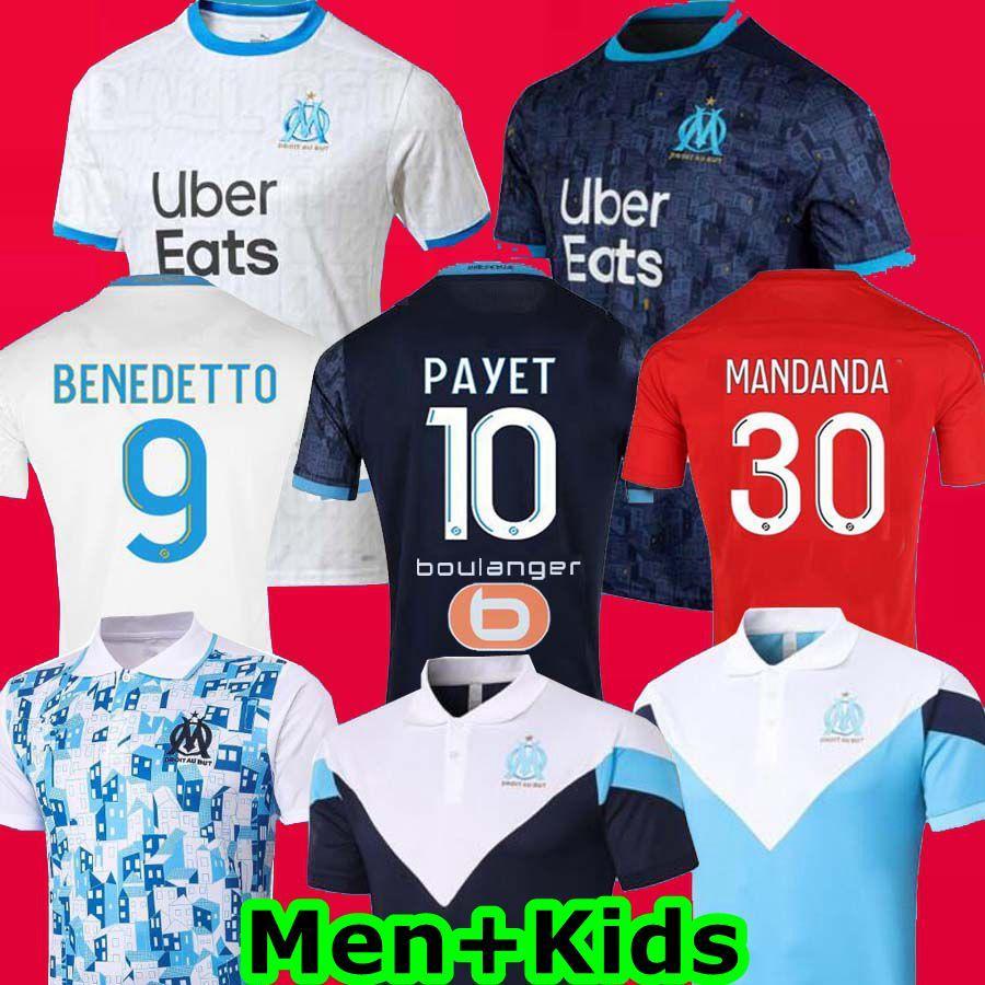 أولمبيك مرسيليا لكرة القدم جيرسي الفانيلة مايوه OM 2021 مايوه دي القدم باييت THAUVIN 20 21 maillots دي لكرة القدم قميص مجموعة الرجال الأطفال كيت