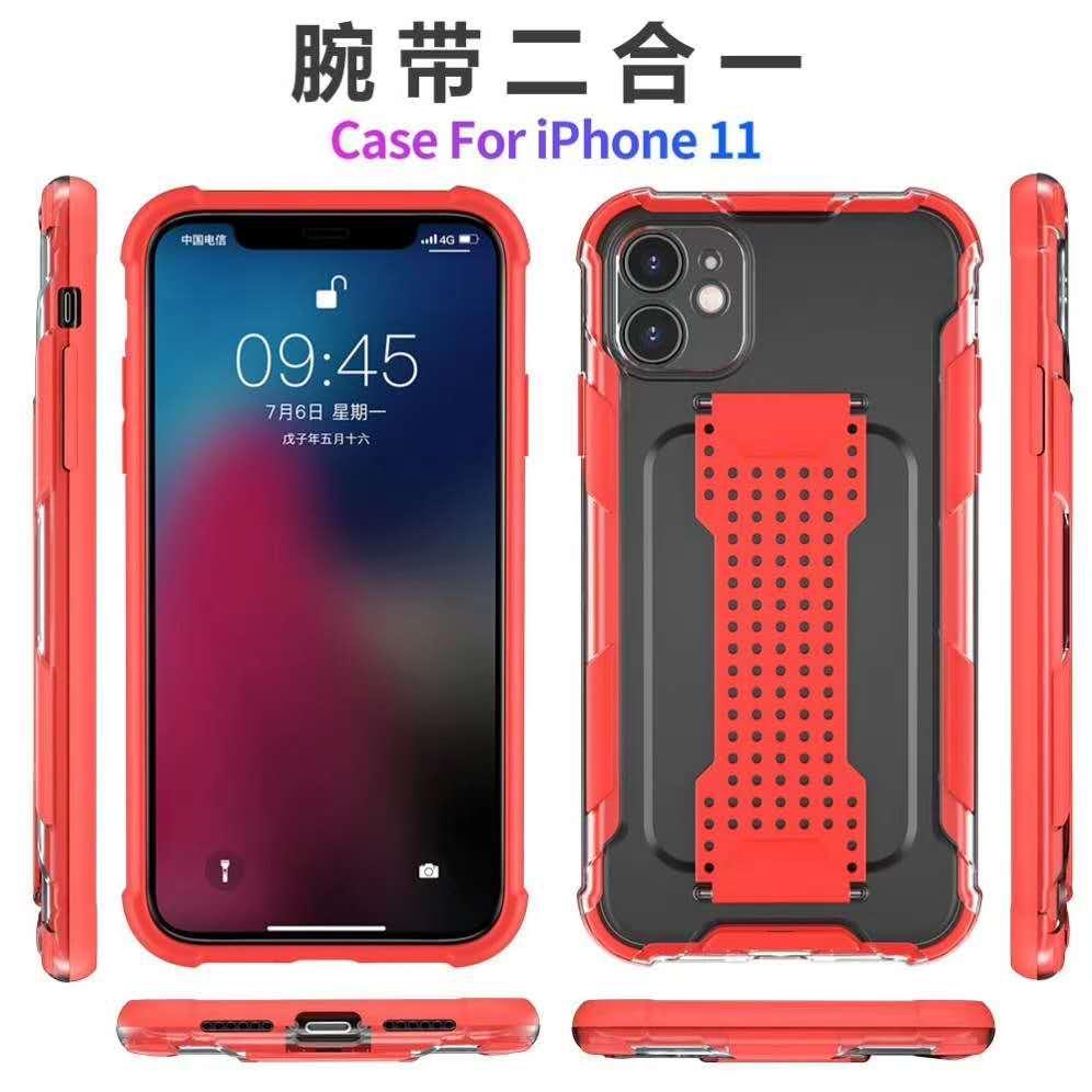 Nouvelle arrivée mode Minimaliste titulaire de bande de poignet à la main arrière téléphone cas pour l'iPhone 12Pro 11 X XS XR Phone Case