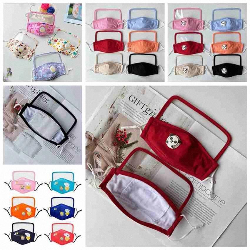 22 Styles für Kinder Gesichtsmasken Mit Face Shield Anti Staubmaske Schutz Maske Waschbar Wiederverwendbare Anti-Fog Cotton Mouth Mask CYZ2517 1 se0N #