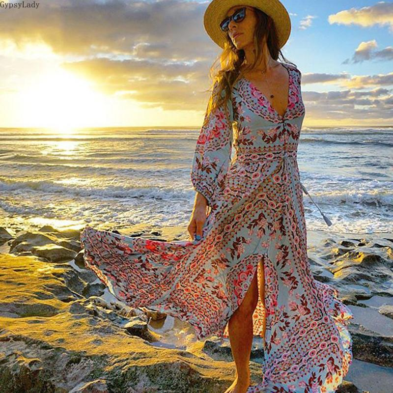 Ethnic Boho Floral Print Maxi Dress Gown Summer V-neck Drawstring Waist Long Sleeve Hippie Chic Vocation Beach Womens Dresses Y200805