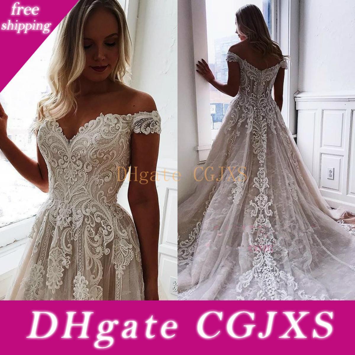 Elegant A Line Off Shoulder Wedding Dresses 2019 Lace Appliqued Bridal Gowns Sweep Train Tulle Beach Wedding Dress Western Robe De Soriee