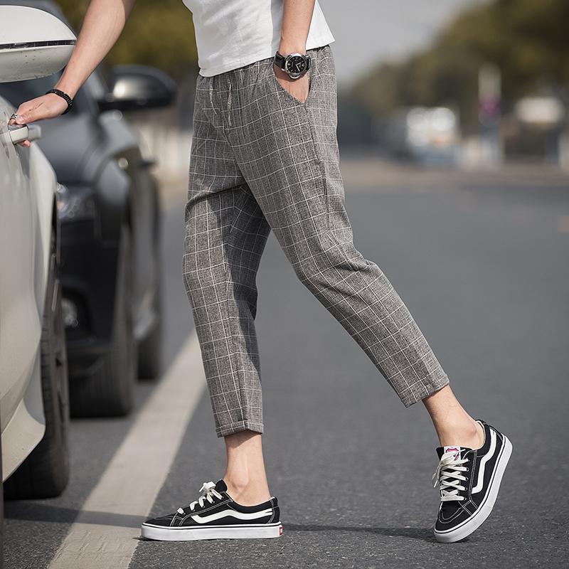Los pantalones de tela escocesa 2020 Longitud ocasional del verano del enrejado del tobillo pantalones de lino pantalones de jogging Hip Hop de los hombres de la calle de los hombres de Deportes