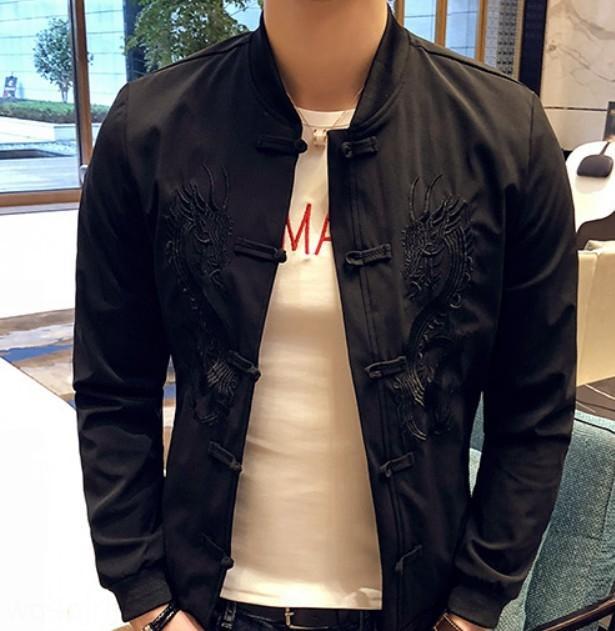 4sekF Primavera e jaqueta Tang terno outono venda quente da moda slim-fit impressa moda cor sólida embroideredstand colla dos homens jaqueta soltos