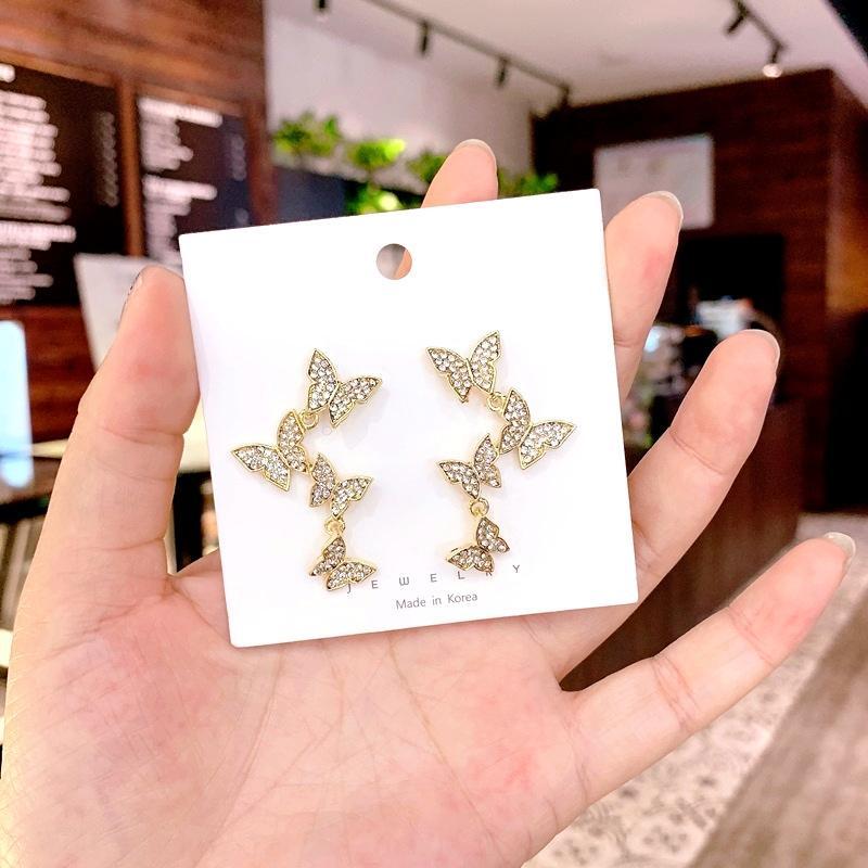 S925 farfalla diamante internet coreano celebrità tempestato di diamanti farfalla orecchini Super Fata lunga personalizzato tutto-fiammifero squisito orecchini