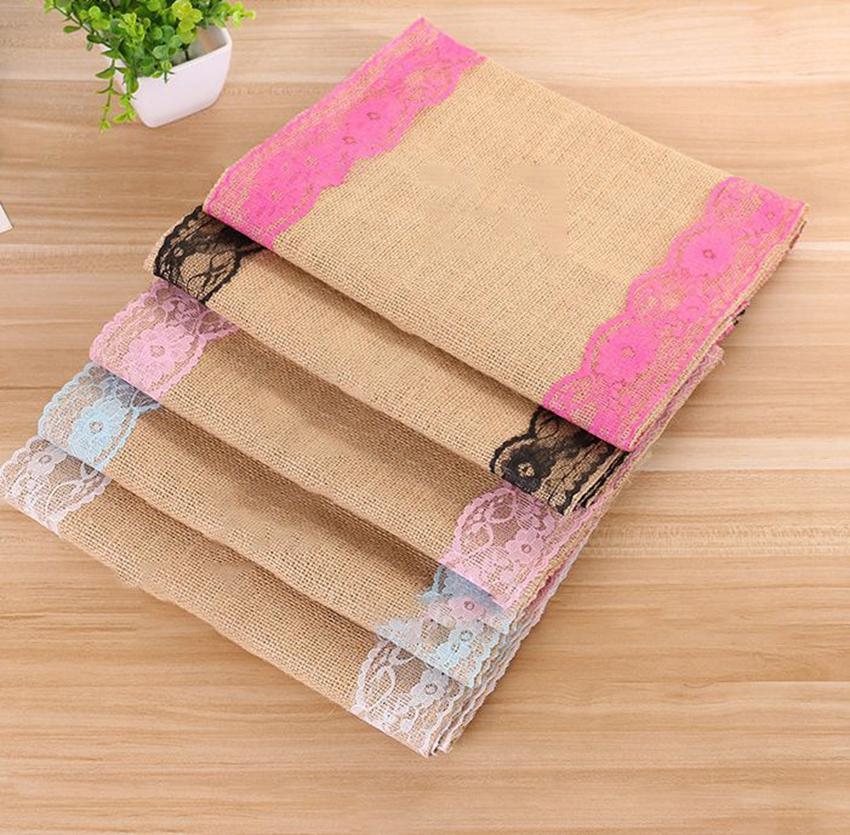 30*180cm Linen Table Runner Dresser Burlap Decor for Wedding Party Holiday Dinner Home Table Banner LJJK2455