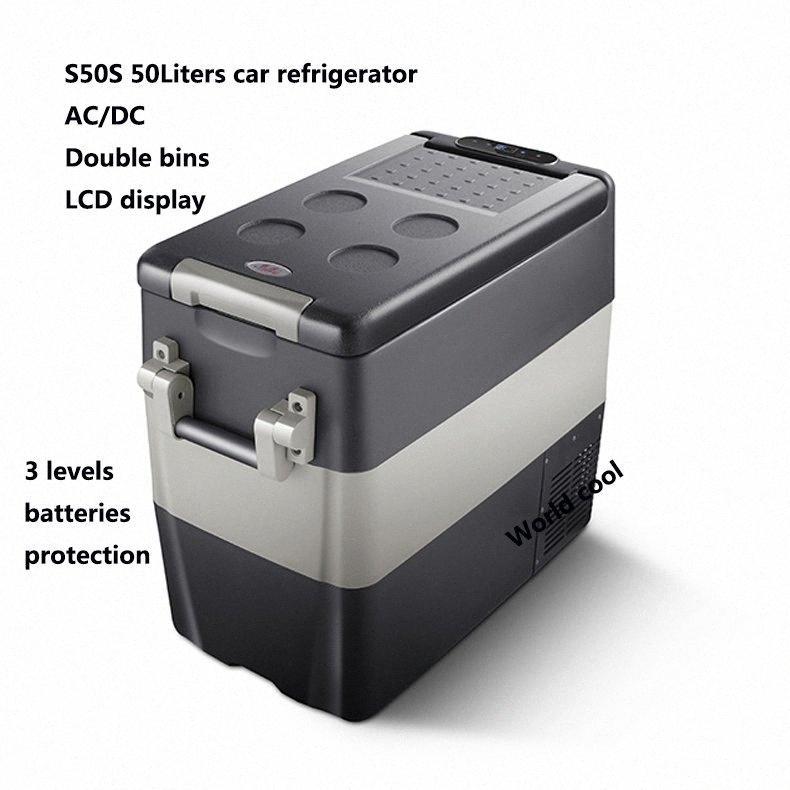 50L AC / Car DC12V24V Frigorifero auto Freezer più fresco di campeggio portatile Mini Frigo compressore Frigorifero Fridge A8cn #