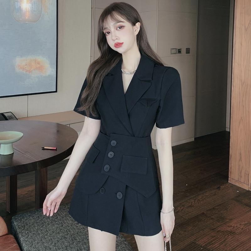 gX6jH 2020 Yaz yeni Kore tarzı takım elbise yaka kısa kollu yaz yeni bel mühür kadınlar + moda desi için düz renk elbise çift göğsü