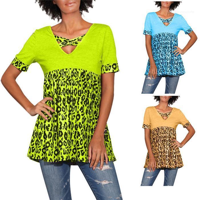 Leopar Kısa Kollu Tişört Yaz V Yaka Kasetli Casual Tees Dişi Gevşek Giyim Kadınlar