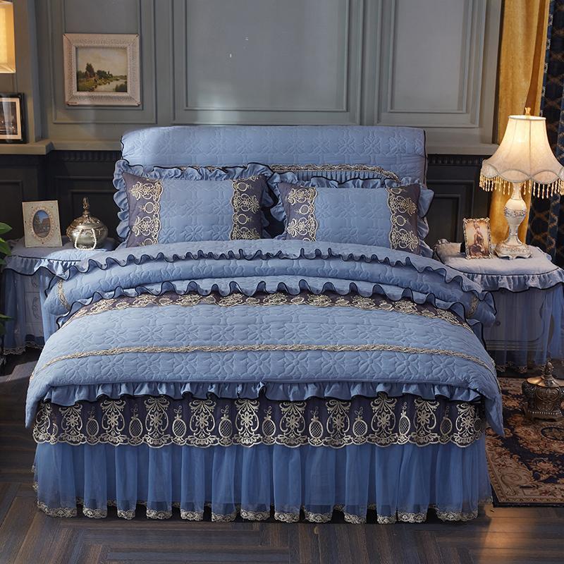 J 33 4Pcs lavado de algodón acolchado de encaje sistemas del lecho de lujo reina rey ropa de cama cubierta tamaño edredón juego de cama falda conjunto funda de almohada