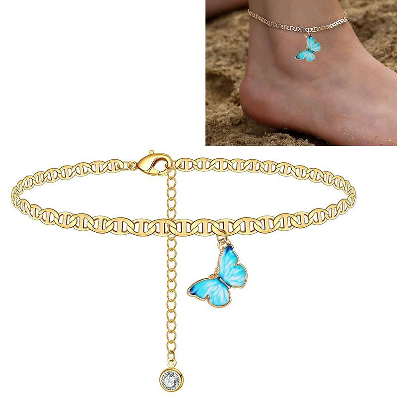 Simplicity Butterfly Pendant Anklet Crystal Student Beach Anklets Piede Gioielli Gamba Catena per le donne a piedi nudi