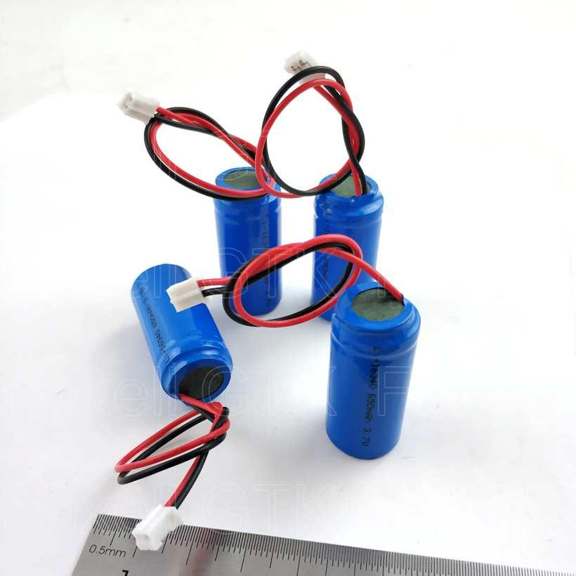100pcs 16340 3.7V 650mah lithium battery with PCB wires cables plug 2p real capacity 700mAh for LED torch laser gps alarm home